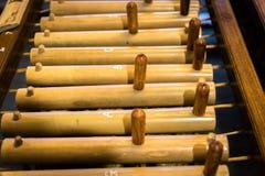 Angklung, παραδοσιακό ξύλινο όργανο μουσικής που παίζεται στη δυτική Ιάβα, Ινδονησία Στοκ φωτογραφία με δικαίωμα ελεύθερης χρήσης
