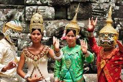 angkor柬埔寨舞蹈演员 库存照片