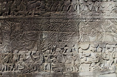 angkor柬埔寨雕刻高棉石头wat 免版税库存图片