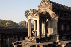 angkor柬埔寨wat瑜伽 免版税库存图片