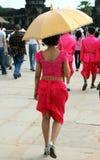 Angkor的Wat柬埔寨新娘 免版税库存图片