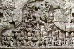 angkor舞蹈阁下雕塑 图库摄影