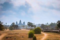 Angkor świątynia Wat, Siem Przeprowadzać żniwa, Kambodża Obraz Stock