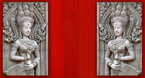 angkor apsara雕刻wat 免版税库存照片