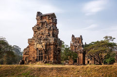 angkor banteay柬埔寨湖lotuses收割siem srey寺庙 Kleangi和Prasat Suor Prat在吴哥城 免版税库存照片