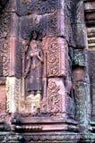 angkor banteay柬埔寨破坏srei wat 库存照片