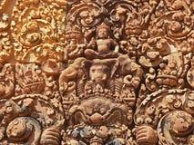 Angkor - Banteay Srei Tempel lizenzfreie stockbilder