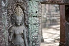 angkor bas bayon柬埔寨替补寺庙 库存图片