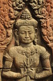 Angkor, Cambodia. Khmer temple sculpture detail Royalty Free Stock Photo