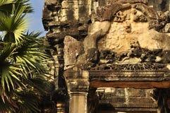 Angkor, Cambodia. temple ruins sculpture detail Royalty Free Stock Photo