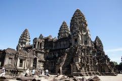 Angkor Cambodja December 31 2017, bevarad 12th århundradeAngkor Wat tempel Arkivfoton