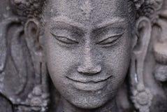 Angkor face. The stone Buddha face at Angkor Wat, Bayon, Cambodia Stock Images
