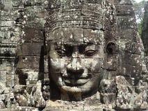Angkor face. Face from Bayon in Angkor complex, Cambodia stock photos