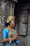 Angkor Girl. Girl dressed like Apsara dancer at Bayoun temple, Angkor Stock Images