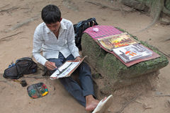 Angkor Painter Stock Photo