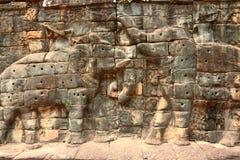 Angkor platscarvings, Cambodja Arkivbild