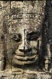 angkor rzeźbiąca twarz izoluje wat Obraz Stock