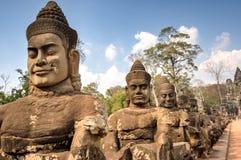 Angkor södra portWat tempel, Siem Reap, Cambodja Fotografering för Bildbyråer
