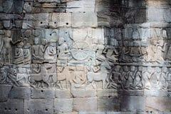 angkor sculpted väggwat Arkivfoto