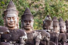 Angkor south door statues Royalty Free Stock Photography