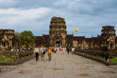 Angkor Temple Inner Path Tourists Royalty Free Stock Image