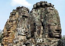 Angkor Thom, πρόσωπο χαμόγελου Βούδας στο ναό Angkor Wat - Siem συγκεντρώνει, Καμπότζη Στοκ Εικόνα