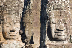 Angkor Thom. Smiling faces in the Temple of Bayon,Bayon is most famous place, built in the 13th century as the centre of Angkor Thom Royalty Free Stock Image