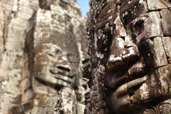 Angkor Thom Bayon temple with stone faces, Cambodi Royalty Free Stock Photography
