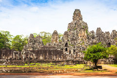 Angkor Thom Cambodia. Bayon khmer temple on Angkor Wat historica Stock Photos