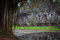 Angkor Thom Cambodia. Bayon khmer temple on Angkor Wat historica Stock Photography
