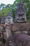 Angkor Thom Cambodia. SIEM REAP , CAMBODIA - OCT 15 : Statues at the South Gate of Angkor Thom, Siem Reap Cambodia on October 15 2017 , Angkor Thom was the last Royalty Free Stock Images