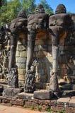 Angkor Thom (Cambodia) - Terrace of the Elephants. Angkor Thom, Siem Reap area (Cambodia) - World famous Terrace of the Elephants, part of the walled city of Stock Photos