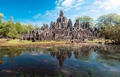 Angkor Thom Cambodja Bayon en khmertempel på Angkor Wat Arkivbild