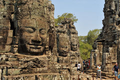 Angkor Thom de tre framsidorna Arkivbilder