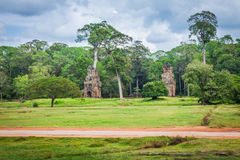 Angkor Thom gardens in front the Elephants Terrace within the An Stock Photo