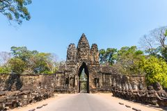 Angkor thom gate in siem reap cambodia Stock Photos