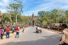 Angkor Thom, Siem Reap, Cambodia - 01.03.2018; tourists visiting the South Gate of Angkor Thom stock photos