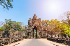 Angkor thom gate in siem reap cambodia Stock Photography