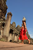 Angkor-Tom, Cambodia – November 12, 2014: Cambodian dancer in traditional costume is going to the scene in Angkor-Tom Stock Images