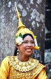 Angkor-Tom Combodia smilinig girl Stock Photos