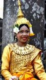 Angkor-Tom Combodia smilinig girl Royalty Free Stock Photo