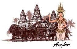 Angkor Vat avec des éléphants, des palmiers et l'apasara Images libres de droits