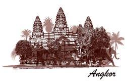 Angkor Vat avec des éléphants et des palmiers Image stock