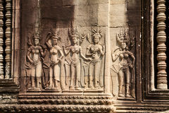 Angkor Wat, γλυπτικές πετρών Στοκ Φωτογραφίες