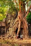 Angkor Wat - η περιοχή παγκόσμιων κληρονομιών της ΟΥΝΕΣΚΟ κοντά σε Siem συγκεντρώνει, Καμπότζη Στοκ Φωτογραφία