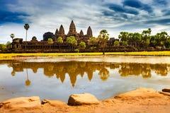 Angkor Wat - η περιοχή παγκόσμιων κληρονομιών της ΟΥΝΕΣΚΟ κοντά σε Siem συγκεντρώνει Στοκ εικόνες με δικαίωμα ελεύθερης χρήσης