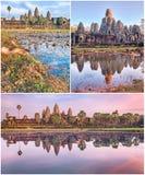 Angkor Wat και κολάζ ναών Bayon Στοκ Εικόνα