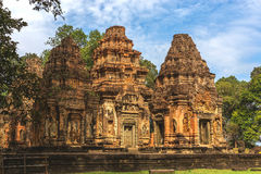 Angkor Wat, Καμπότζη - 6 Δεκεμβρίου 2016: Στοές και τουρίστες Στοκ Φωτογραφίες