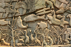 Angkor Wat, λεπτομέρεια τοίχων, Καμπότζη Στοκ Φωτογραφία