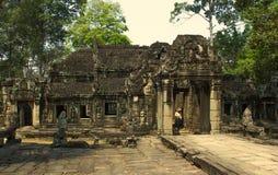 Angkor Wat Ναός Khmer πολιτισμός η banteay λίμνη της Καμπότζης angkor lotuses συγκεντρώνει siem το ναό srey Τουρισμός στην Καμπότ Στοκ Εικόνες